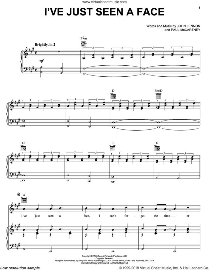 I've Just Seen A Face sheet music for voice, piano or guitar by The Beatles, Across The Universe (Movie), John Lennon and Paul McCartney, intermediate skill level