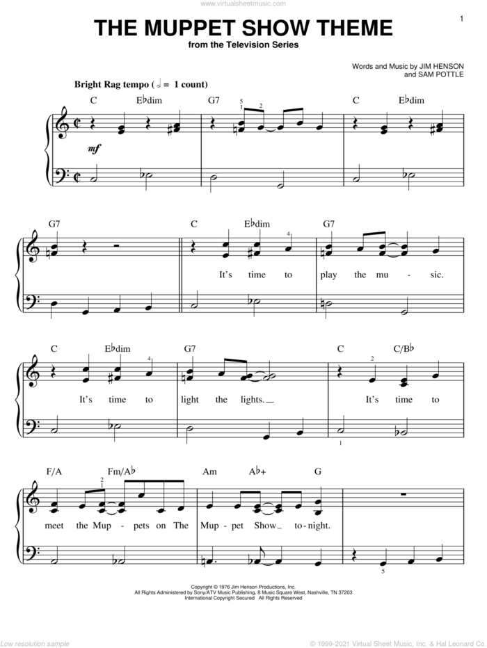 The Muppet Show Theme, (easy) sheet music for piano solo by Jim Henson, The Muppets and Sam Pottle, easy skill level