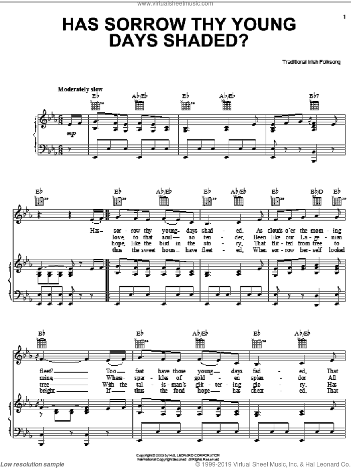 Has Sorrow Thy Young Days Shaded? sheet music for voice, piano or guitar, intermediate skill level