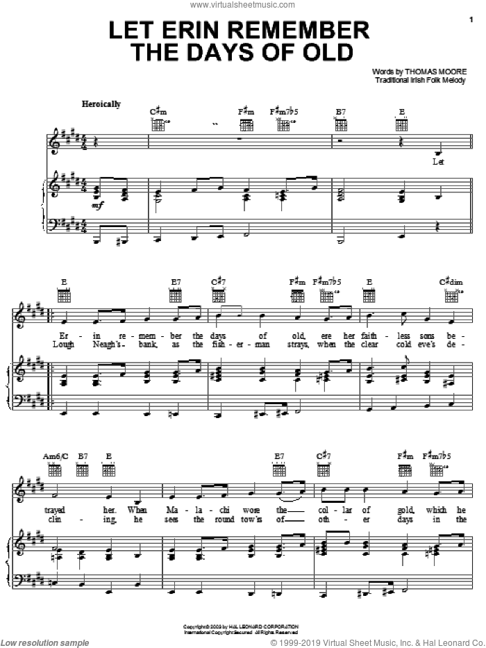 Let Erin Remember The Days Of Old sheet music for voice, piano or guitar by Thomas Moore and Miscellaneous, intermediate skill level