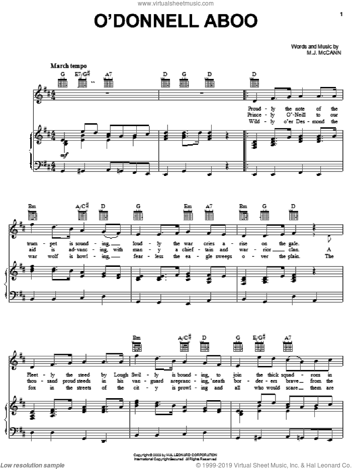 O'Donnell Aboo sheet music for voice, piano or guitar by M. J. McCann, intermediate skill level