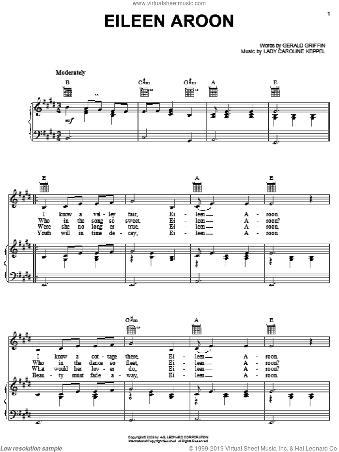 Eileen Aroon sheet music for voice, piano or guitar by Gerald Griffin and Lady Caroline Keppel, intermediate skill level