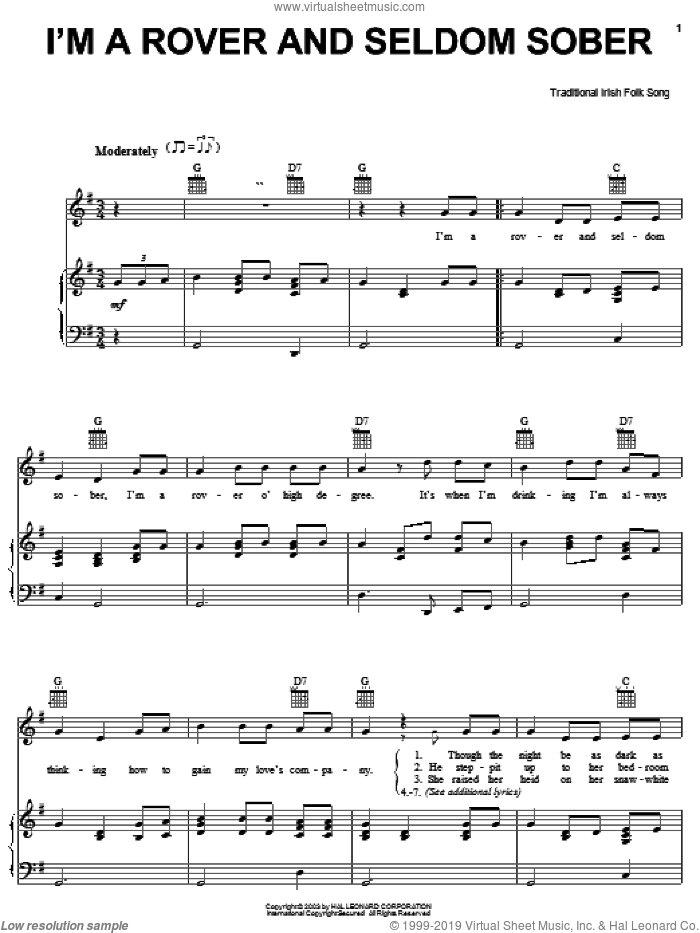 I'm A Rover And Seldom Sober sheet music for voice, piano or guitar, intermediate skill level