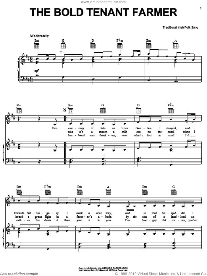 The Bold Tenant Farmer sheet music for voice, piano or guitar, intermediate skill level