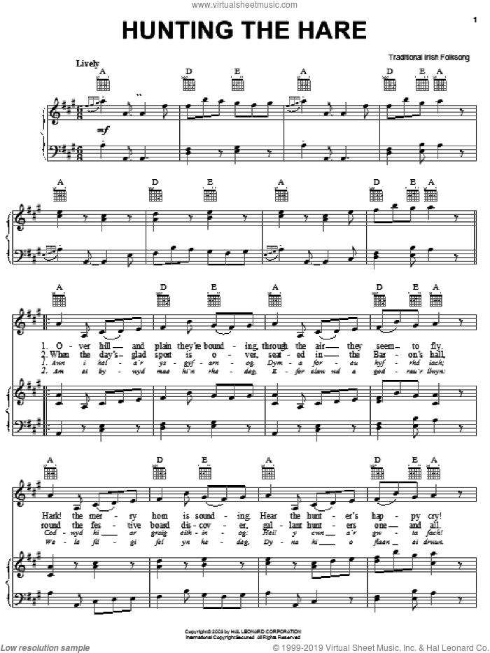 Hunting The Hare sheet music for voice, piano or guitar, intermediate skill level