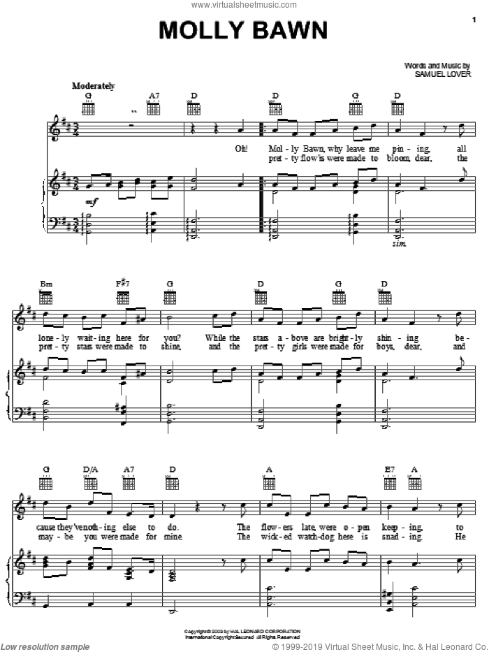 Molly Bawn sheet music for voice, piano or guitar by Samuel Lover, intermediate skill level