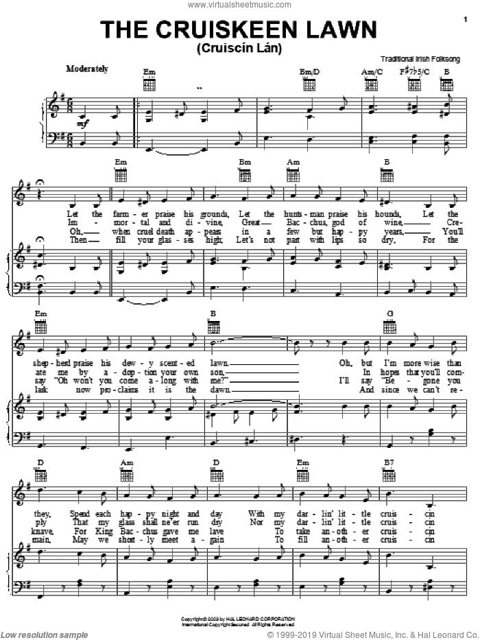 The Cruiskeen Lawn (Cruiscin Lan) sheet music for voice, piano or guitar, intermediate skill level