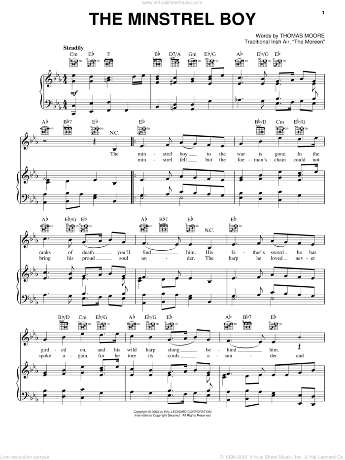 Minstrel Boy sheet music for voice, piano or guitar, intermediate skill level