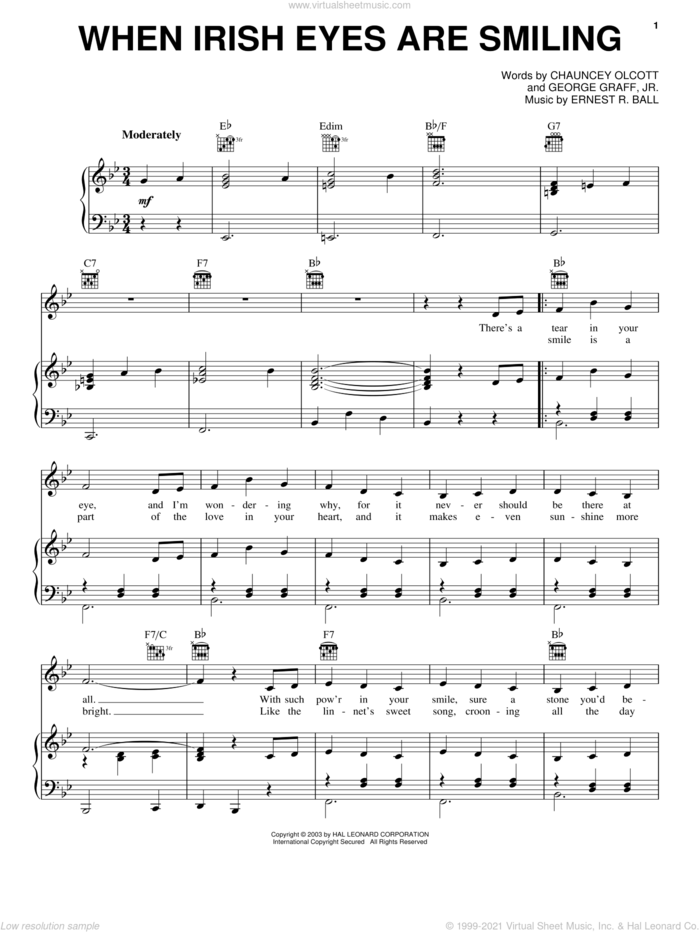 When Irish Eyes Are Smiling sheet music for voice, piano or guitar by Chauncey Olcott, Ernest R. Ball and George Graff Jr., intermediate skill level