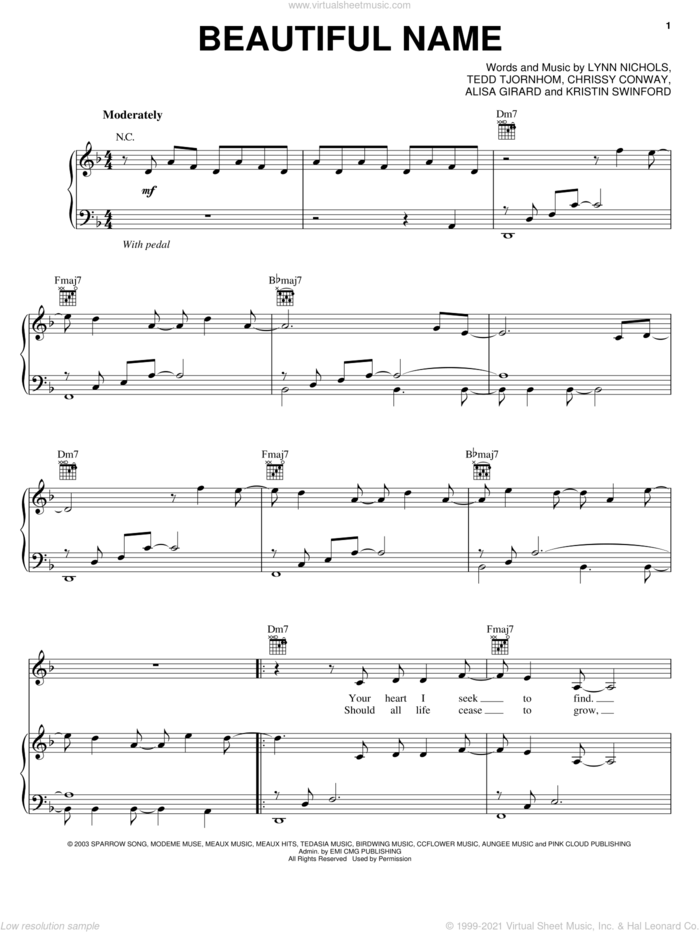 Beautiful Name sheet music for voice, piano or guitar by ZOEgirl, Chrissy Conway, Lynn Nichols and Tedd Tjornhom, intermediate skill level