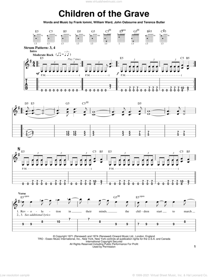 Children Of The Grave sheet music for guitar solo (easy tablature) by Black Sabbath, Ozzy Osbourne, White Zombie, Frank Iommi, John Osbourne and William Ward, easy guitar (easy tablature)