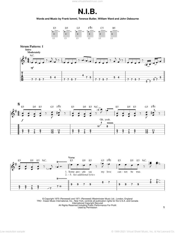 N.I.B. sheet music for guitar solo (easy tablature) by Black Sabbath, Ozzy Osbourne, Frank Iommi, Terence Butler and William Ward, easy guitar (easy tablature)