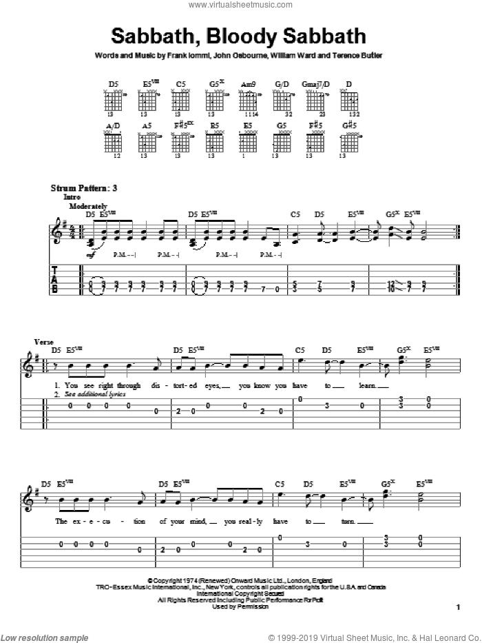 Sabbath, Bloody Sabbath sheet music for guitar solo (easy tablature) by Black Sabbath, Ozzy Osbourne, Frank Iommi, John Osbourne and William Ward, easy guitar (easy tablature)