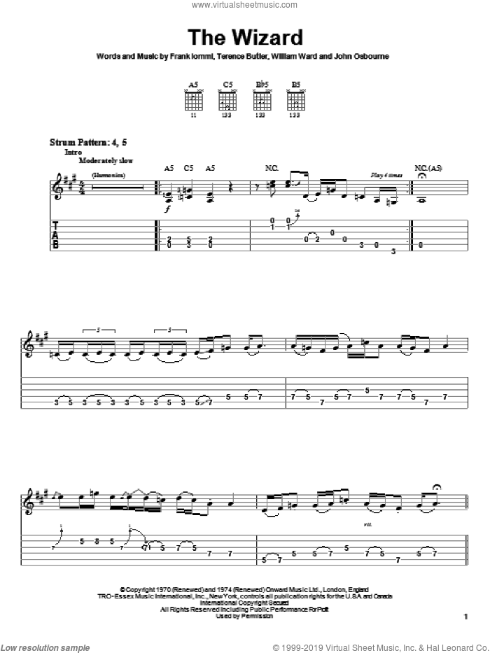 The Wizard sheet music for guitar solo (easy tablature) by Black Sabbath, Ozzy Osbourne, Frank Iommi, Terence Butler and William Ward, easy guitar (easy tablature)