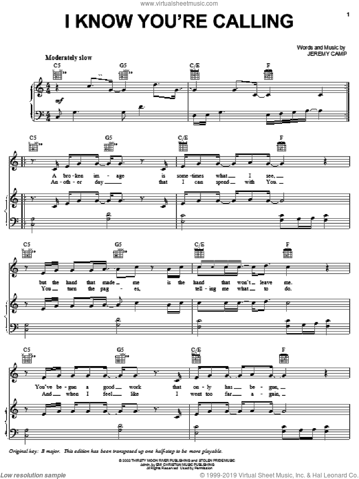 I Know You're Calling sheet music for voice, piano or guitar by Jeremy Camp, intermediate skill level