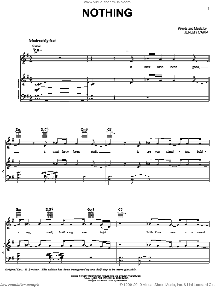 Nothing sheet music for voice, piano or guitar by Jeremy Camp, intermediate skill level