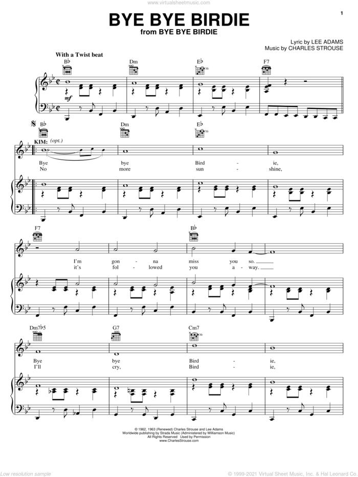 Bye Bye Birdie sheet music for voice, piano or guitar by Charles Strouse, Bye Bye Birdie (Musical) and Lee Adams, intermediate skill level