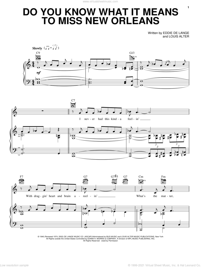Do You Know What It Means To Miss New Orleans sheet music for voice, piano or guitar by Louis Armstrong, Billie Holiday, Harry Connick Jr., Eddie DeLange and Louis Alter, intermediate skill level