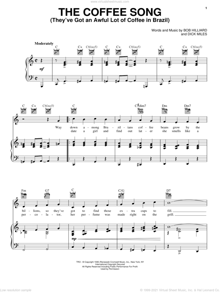 The Coffee Song (They've Got An Awful Lot Of Coffee In Brazil) sheet music for voice, piano or guitar by Frank Sinatra, Bob Hilliard and Dick Miles, intermediate skill level