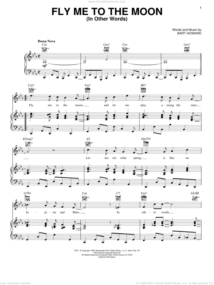 Fly Me To The Moon (In Other Words) sheet music for voice, piano or guitar by Frank Sinatra, Tony Bennett and Bart Howard, wedding score, intermediate skill level