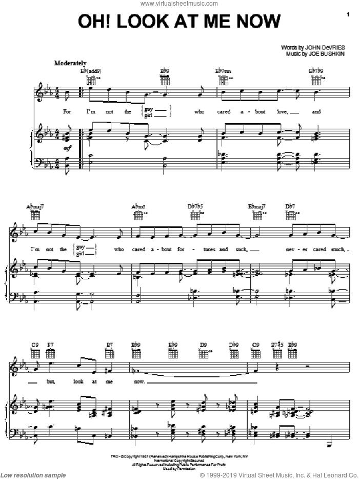 Oh! Look At Me Now sheet music for voice, piano or guitar by Frank Sinatra, Bobby Darin, Lee Wiley, Joe Bushkin, John De Vries and John DeVries, intermediate skill level