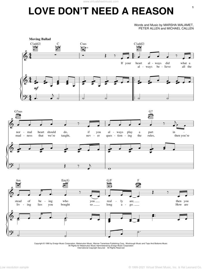 Love Don't Need A Reason sheet music for voice, piano or guitar by Marsha Malamet, The Boy From Oz (Musical), Michael Callen and Peter Allen, intermediate skill level
