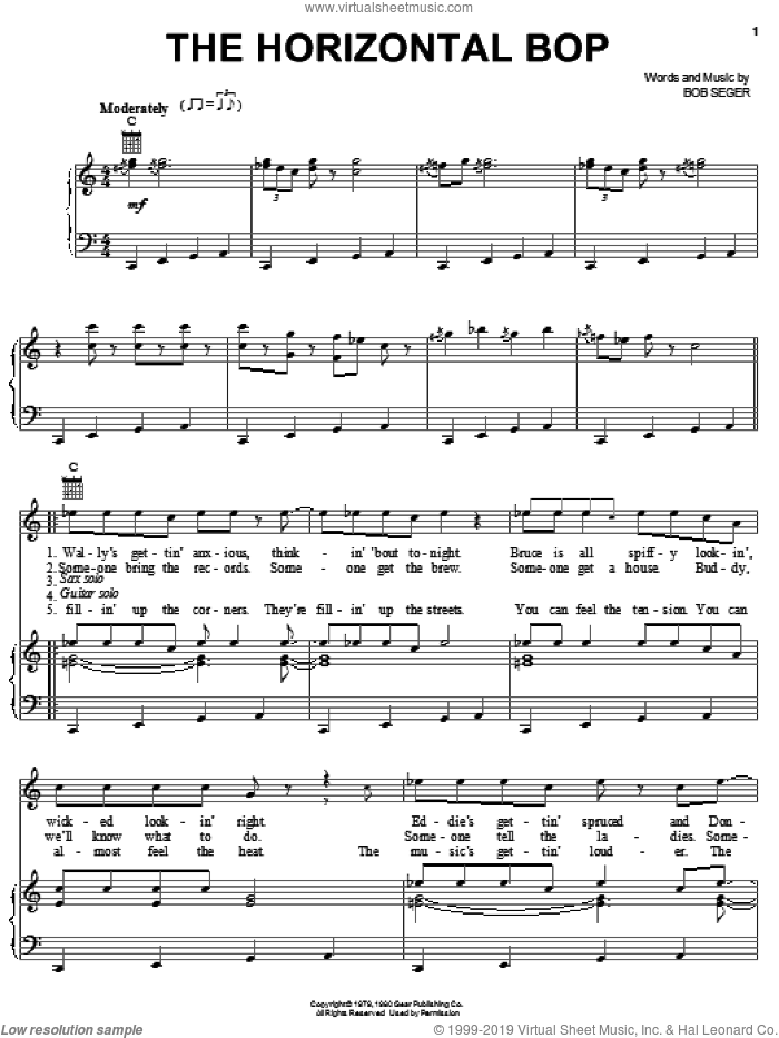 The Horizontal Bop sheet music for voice, piano or guitar by Bob Seger, intermediate skill level