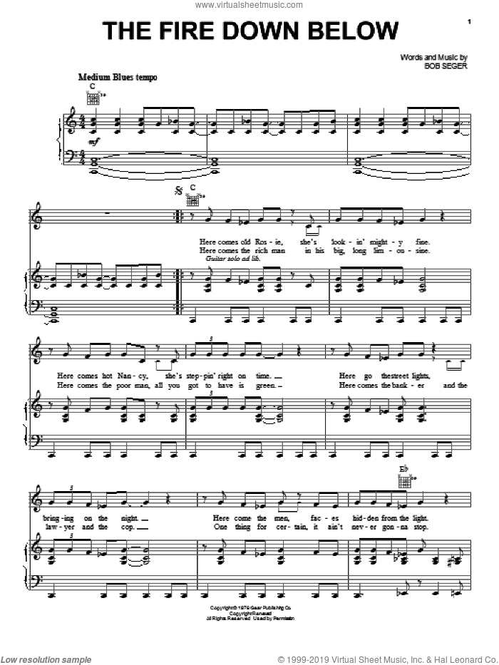 The Fire Down Below sheet music for voice, piano or guitar by Bob Seger and Bette Midler, intermediate skill level