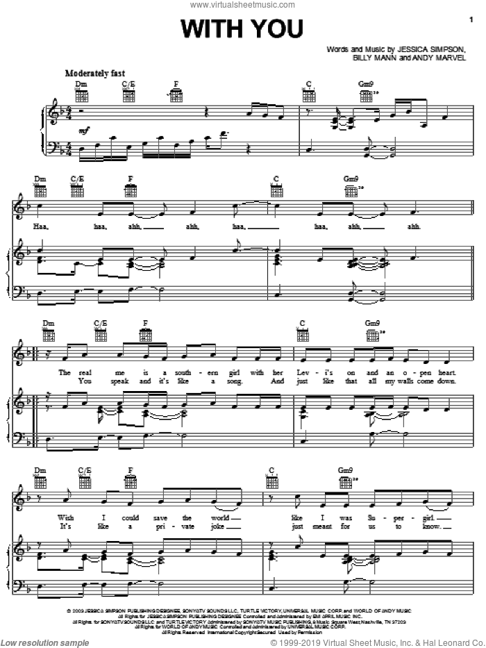 With You sheet music for voice, piano or guitar by Jessica Simpson, Andy Marvel and Billy Mann, intermediate skill level