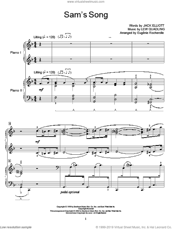 Sam's Song sheet music for two pianos by Bing Crosby, Dean Martin, Miscellaneous, Jack Elliott and Lew Quadling, intermediate duet