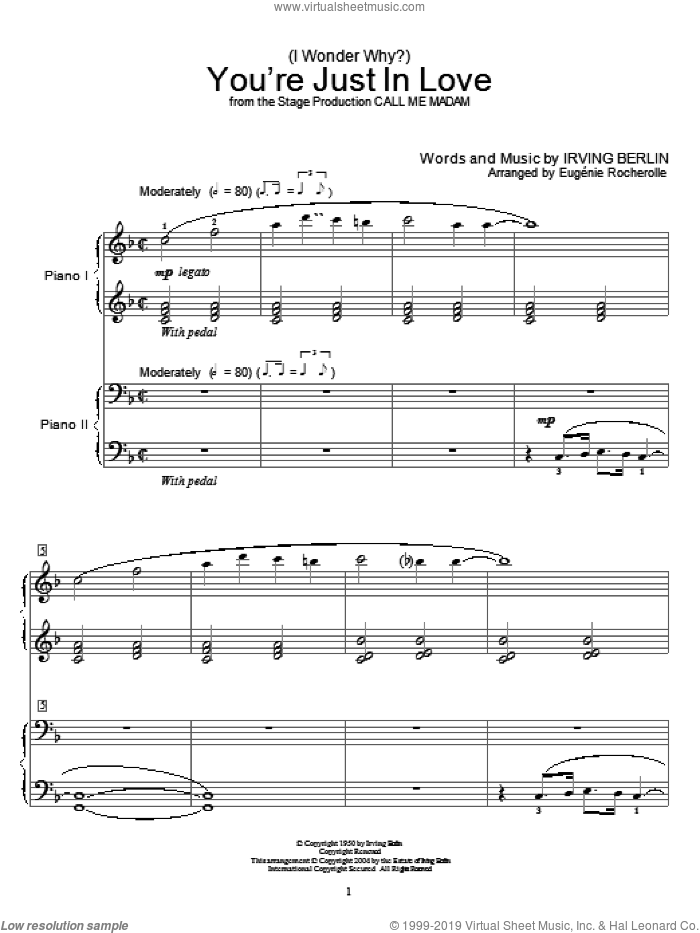 (I Wonder Why?) You're Just In Love sheet music for two pianos by Irving Berlin and Miscellaneous, intermediate duet