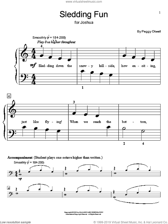 Sledding Fun sheet music for piano solo (elementary) by Peggy Otwell, Miscellaneous and Steve Rushton, beginner piano (elementary)