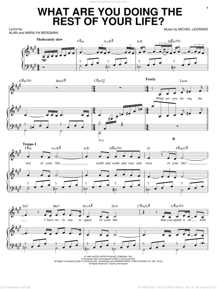 What Are You Doing The Rest Of Your Life? sheet music for voice, piano or guitar by Barbra Streisand, Frank Sinatra, Johnny Mathis, Alan Bergman, Marilyn Bergman and Michel LeGrand, intermediate skill level