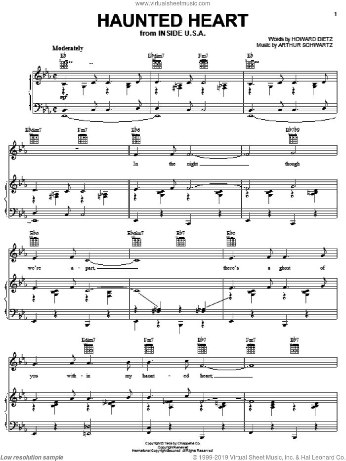 Haunted Heart sheet music for voice, piano or guitar by Jane Monheit, Frank Sinatra, Jo Stafford, Arthur Schwartz and Howard Dietz, intermediate skill level