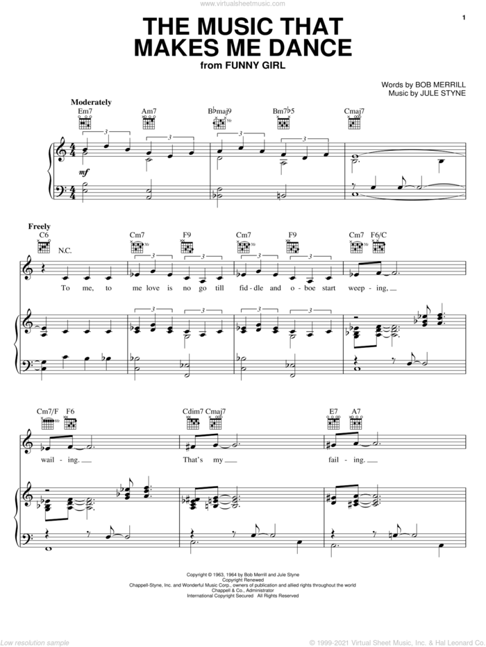 The Music That Makes Me Dance sheet music for voice, piano or guitar by Barbra Streisand, Natalie Cole, Bob Merrill, Bob Merrill and Jule Styne and Jule Styne, intermediate skill level