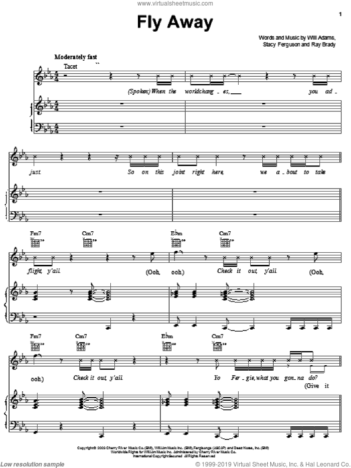 Fly Away sheet music for voice, piano or guitar by Black Eyed Peas, Ray Brady, Stacy Ferguson and Will Adams, intermediate skill level