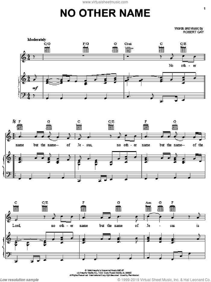 No Other Name sheet music for voice, piano or guitar by Robert Gay, intermediate skill level