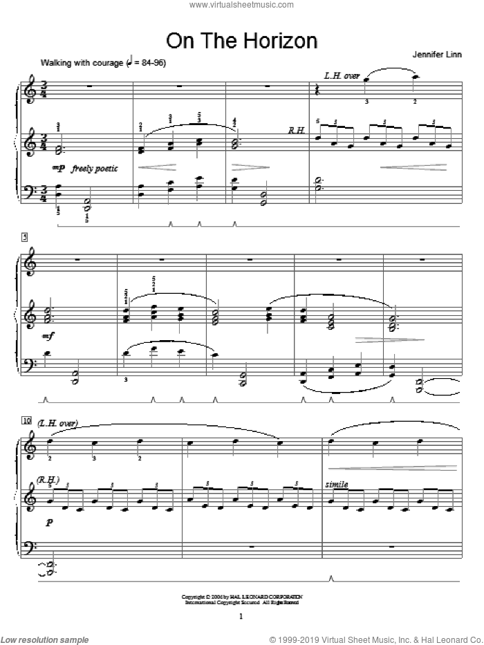 On The Horizon sheet music for piano solo (elementary) by Jennifer Linn and Miscellaneous, beginner piano (elementary)