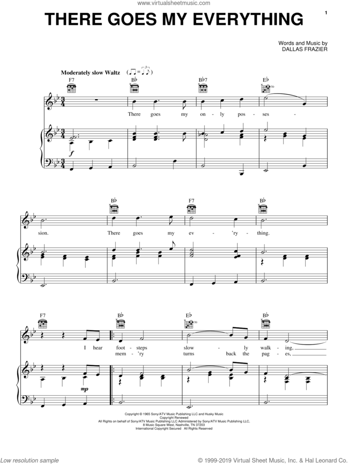 There Goes My Everything sheet music for voice, piano or guitar by Elvis Presley, Engelbert Humperdinck, Jack Greene and Dallas Frazier, intermediate skill level