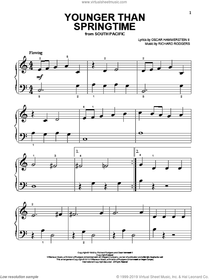 Younger Than Springtime sheet music for piano solo (big note book) by Rodgers & Hammerstein, South Pacific (Musical), Oscar II Hammerstein and Richard Rodgers, easy piano (big note book)