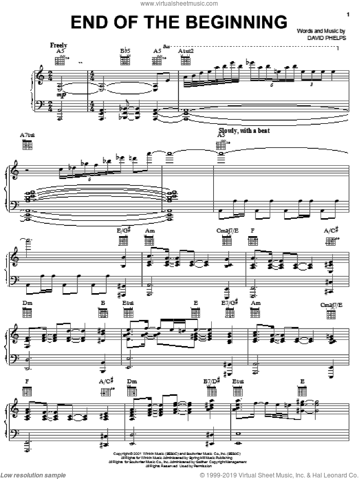 End Of The Beginning sheet music for voice, piano or guitar by David Phelps, intermediate skill level