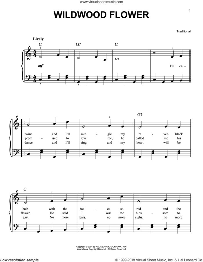 Wildwood Flower sheet music for piano solo, easy skill level