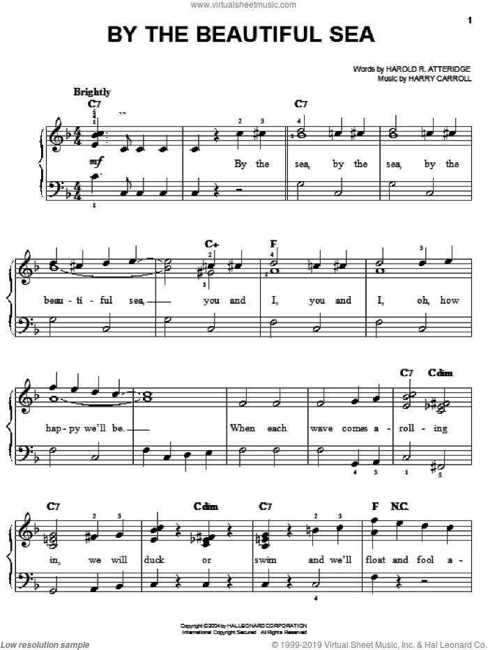 By The Beautiful Sea sheet music for piano solo by Spike Jones, Harold R. Atteridge and Harry Carroll, easy skill level