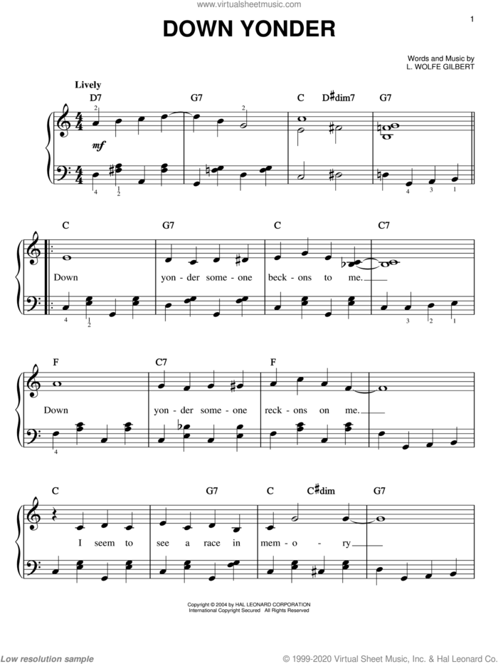 Down Yonder sheet music for piano solo by Willie Nelson, Johnny Gimble, Johnny Maddox and L. Wolfe Gilbert, easy skill level