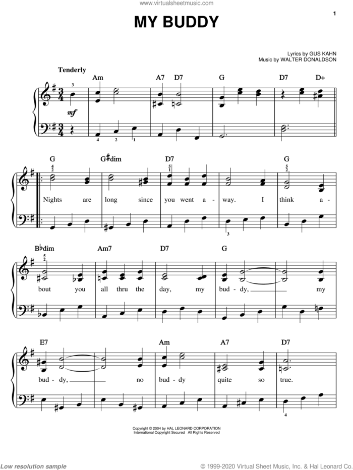 My Buddy sheet music for piano solo by Bing Crosby, Doris Day, Frank Sinatra, Gus Kahn and Walter Donaldson, easy skill level