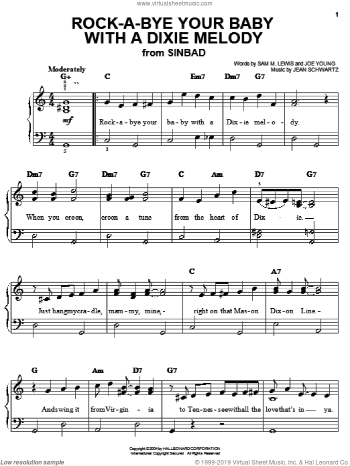 Rock-A-Bye Your Baby With A Dixie Melody sheet music for piano solo by Al Jolson, Judy Garland, Jean Schwartz, Joe Young and Sam Lewis, easy skill level