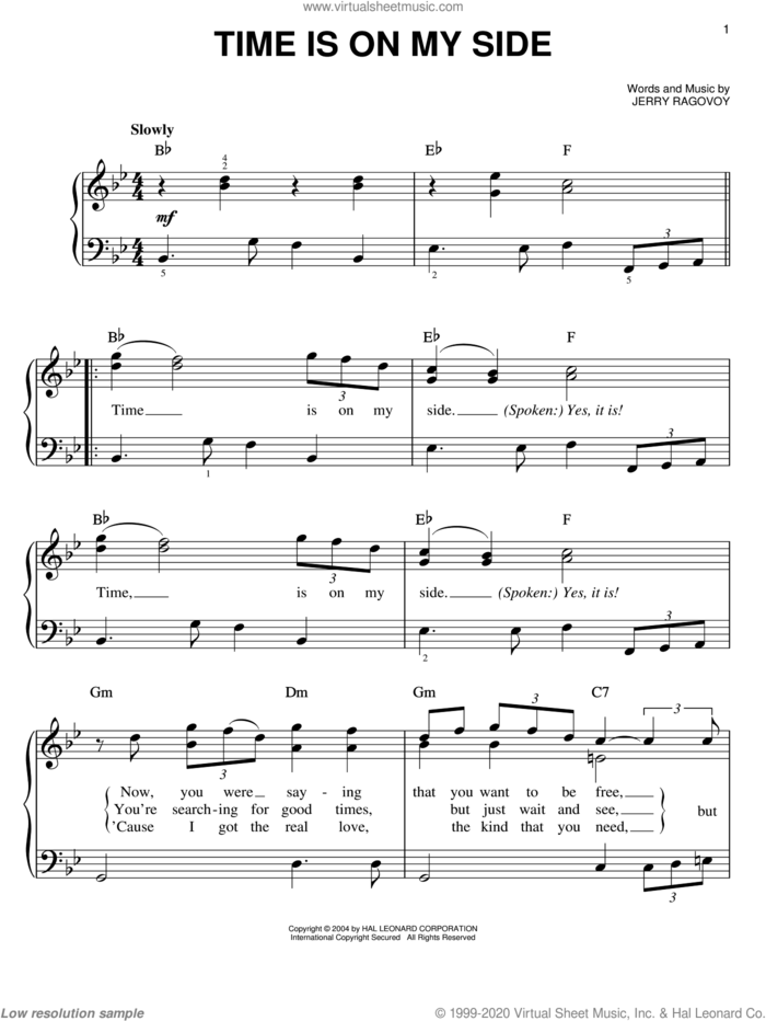 Time Is On My Side sheet music for piano solo by The Rolling Stones and Jerry Ragovoy, easy skill level