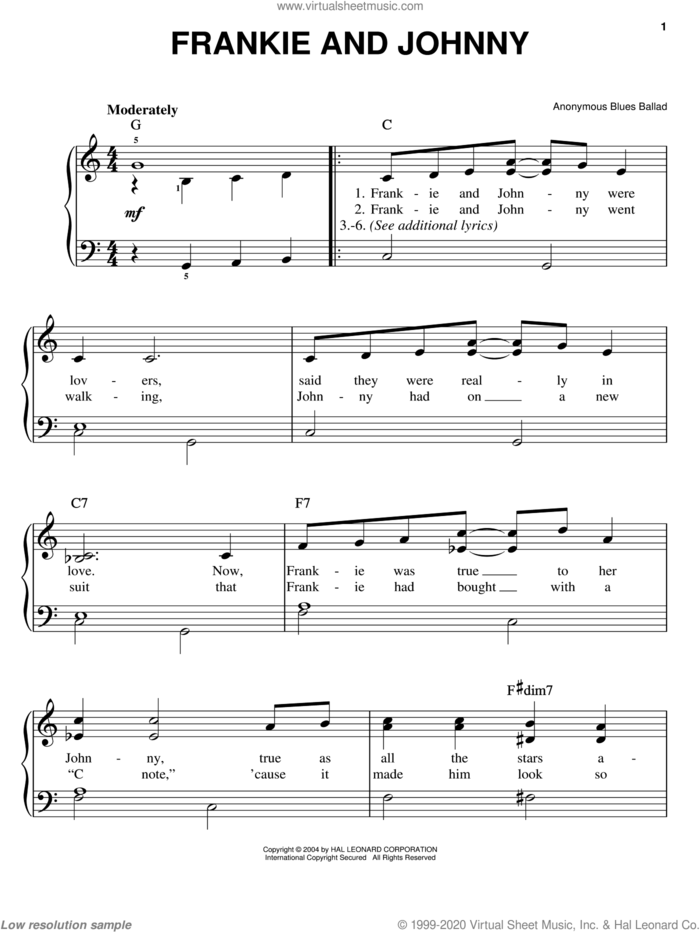 Frankie And Johnny sheet music for piano solo by Anonymous, easy skill level