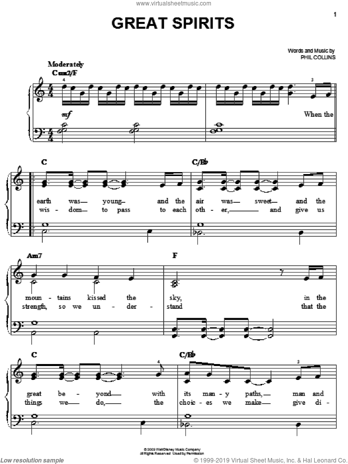 Great Spirits sheet music for piano solo by Phil Collins and Brother Bear (Movie), easy skill level