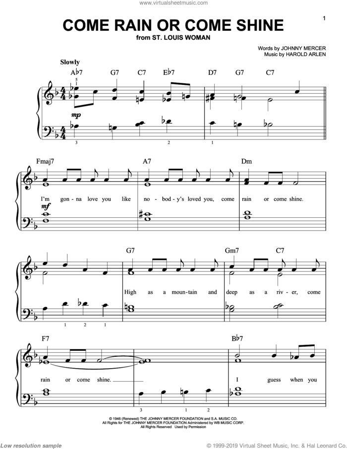 Come Rain Or Come Shine sheet music for piano solo by Frank Sinatra, Harold Arlen and Johnny Mercer, easy skill level